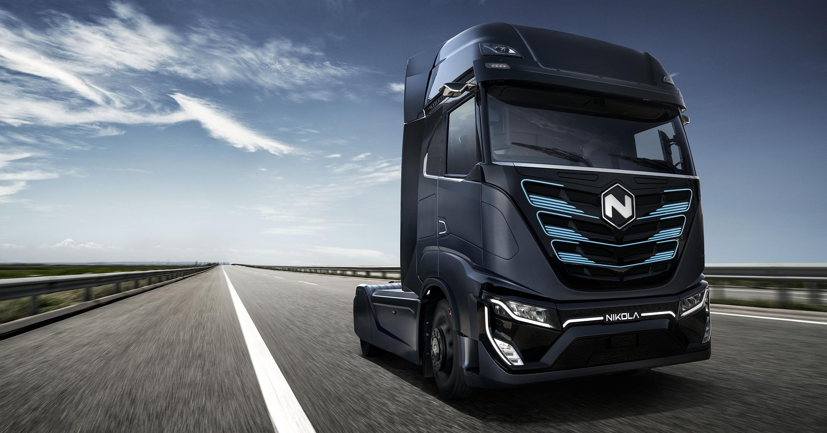 Tre by Nikola electric semi-truck driving on the road