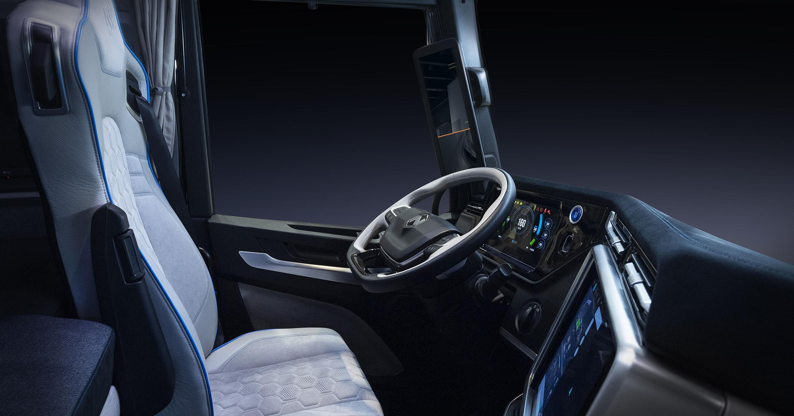 Inside driver seat of the electric cabover semi – Tre by Nikola
